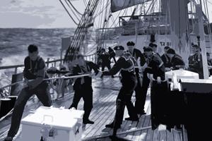Mitarbeiter im Boot halten